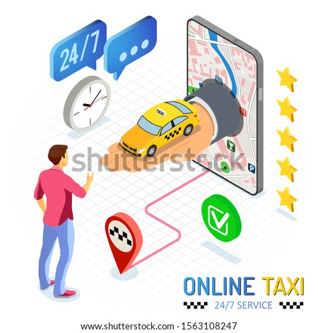 online taxi isometric concept