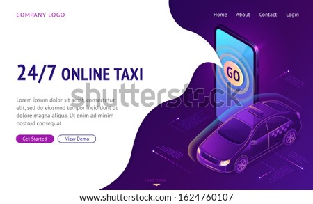 online taxi 24 7 isometric