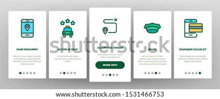 Online Taxi Onboarding Mobile App Page Screen Vector Thin Line. Smartphone With Gps Mark And Baggage, Card And Direction, Stopwatch And Taxi Car Concept Linear Pictograms. Illustrations