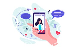 Online tele medicine isometric concept. Medical consultation and treatment via application of smartphone connected internet clinic. Online doctor consultation technology in smartphone vector.