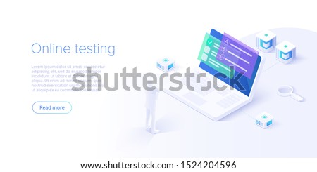 Online test or education concept vector illustration in isometric design. Internet distant training and courses on learning or educational platform. Website template.