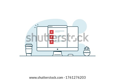 Online test with a lot of errors. Workspace with computer, coffee cup, plant and browser with test. Vector illustration in line art style