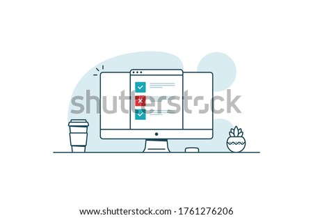 Online test with one error. Workspace with computer, coffee cup, plant and browser with online test. Vector illustration in line art style