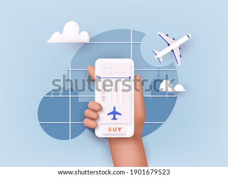 Online ticket concept. Buying tickets with smartphone. Traveling on airplane, planning a summer vacation, tourism. 3D Vector Illustrations.