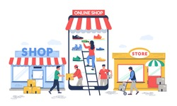 Online to offline commerce, vector flat illustration. O2O retail and electronic commerce business strategy. Potential online consumers making purchases in physical stores.