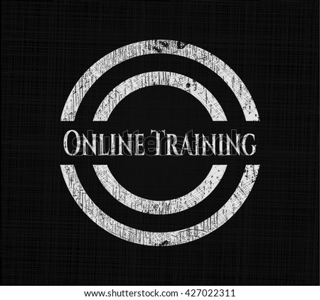 Online Training chalkboard emblem on black board