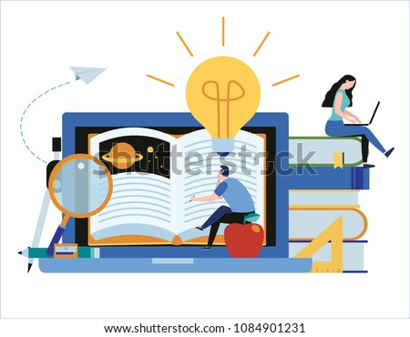 online training courses vector illustration.distance learning business education concept.internet studying book tutorials. skills developstudent flat cartoon character design for web mobile banner