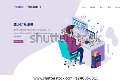 Online training. Distance e-learning, online training courses of student, school internet education, business webinars and lectures, school homework. Landing page template. Isometric vector.