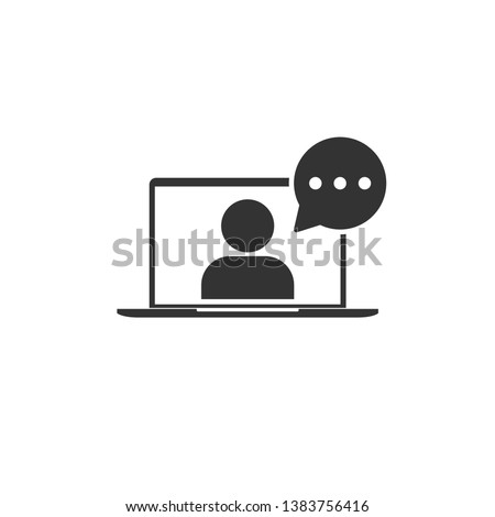 Online training in laptop icon in simple design. Vector illustration