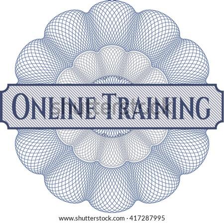 Online Training inside money style emblem or rosette