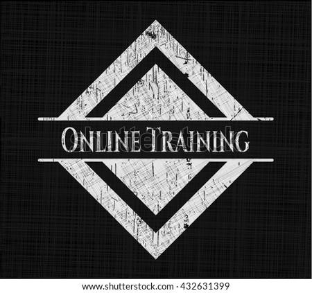 Online Training written with chalkboard texture