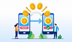 Online transaction, transfer, payment money, mobile banking technology landing page website illustration flat vector template