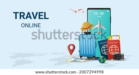 Online travel on smartphone . Book a ticket. Trip planning. Travel to World. travel equipment and luggage. Top view on travel and tourism concept template. vector illustration