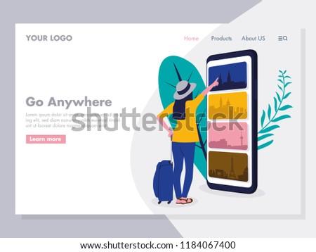 Online Travelling Illustration for landing page