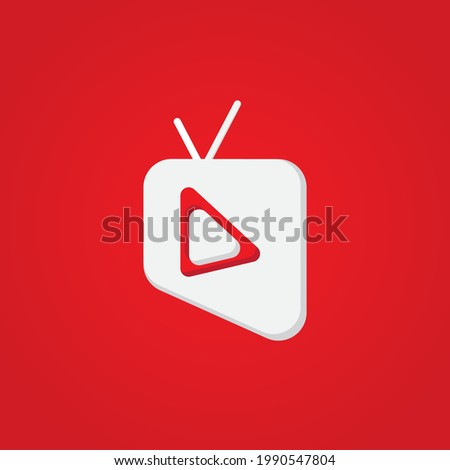 Online TV Channel Or Broadcasting Company Logo Concept. Pictorial Mark Logo Design Template with Television and Play Button Shape Element. Red and White as a Color Identity