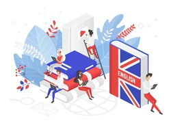 Online UK English language courses isometric 3d vector illustration. Distance education, remote school, Great Britain university. Students reading books Internet class, e learning language school