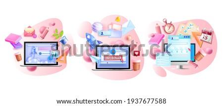 Online vector training illustration set, remote education isolated concepts, laptop screen, book. Digital school, university courses collection, internet exam, webinar. Online education 3D app design