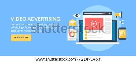Online Video, advertising, movie marketing flat vector banner with button #721491463
