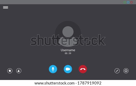 Online video call interface template with user icon. Vector UI screen. Online business webinar chat. Videocall screen mockup for learning conference. Flat online computer communication concept. V2