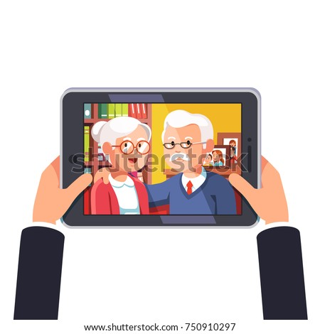 Online video call with elder age parents or grandparents. Video calling and talking via internet on tablet computer or looking at parents photo on modern touchscreen PC. Flat vector isolated on white.