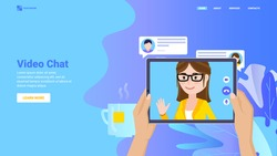 Online video chat concept for website, landing page, banner, print.  Remote communication, video conference, video call hero vector flat image.
