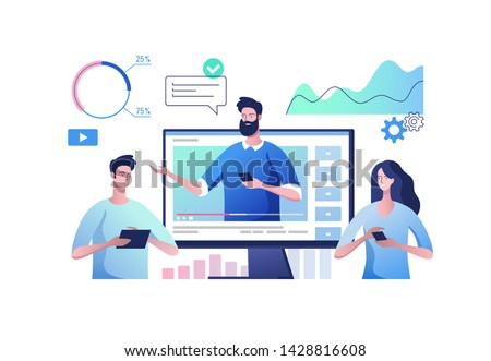 Online video communication. Concept of video presentation and training in business. Vector illustration.