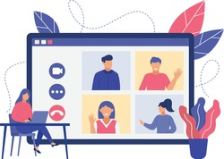 Online video conference with group. Flat design illustration. Vector