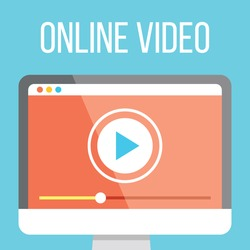 Online video flat illustration. Flat design concepts for web banners, web sites, printed materials. Creative vector illustration