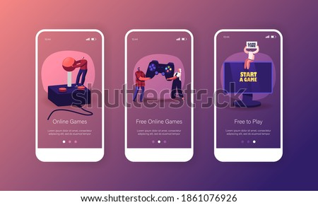 Online Video Games Mobile App Page Onboard Screen Template. Tiny Male and Female Characters with Huge Gamepad Playing Videogame on Play Station Console Concept. Cartoon People Vector Illustration