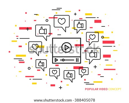 Online video player line vector illustration. Like, heart, dialog box, media technology creative concept. Internet web video graphic design.