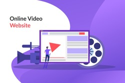 Online video. video marketing campaign, video ad, digital content, promotion, online advertisement vector illustration. Digital video message, online tutorial concept for web landing page, print media