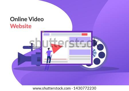 Online video. video marketing campaign, video ad, digital content, promotion, online advertisement vector illustration. Digital video message, online tutorial concept for web landing page, print media