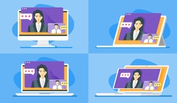 Online Virtual Consultation. Self-Employed Man Consulting Female Business Consultant about Expansion. Or Client Consulting Lawyer about Legal Steps via internet. PC, Laptop & Tablet Screen Display.