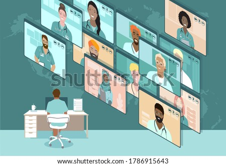 Online virtual doctor video conference, diverse medical professionals meeting, remote work communication, sharing information,   treatment experience during coronavirus pandemic. Vector illustration