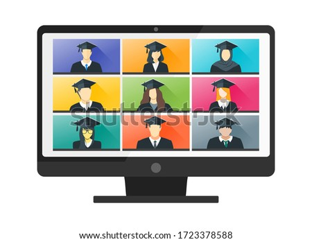 Online Virtual Graduation Video Web Conference Teleconference in PC. College University or High School Student Commencement Ceremony with Gown & Hat from home. Flatten the Curve COVID-19 Pandemic
