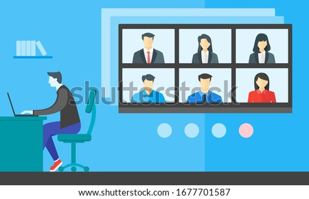 Online Virtual Meetings, Work from Home WFH During Coronavirus COVID-19 Pandemic Outbreak. Teleconference TV Video Conference Webinars or Remote Working. Enterprise Web Cloud Service Software Concept