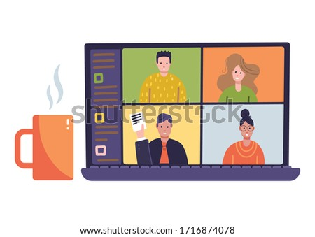 Online Virtual Remote Meeting on laptop screen. Video Web distant Conference. Work or Study From Home. Gadget with cup of tea. Flat vector illustration