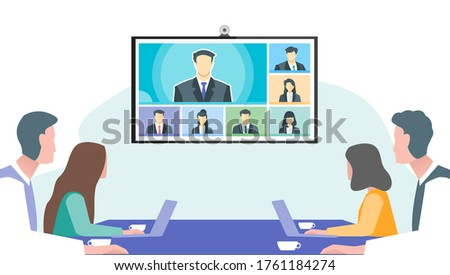 Online Virtual Remote Meetings in Office, TV Video Web Conference Teleconference. Company CEO President Executive Manager Boss Employee Team Work Learn From Home WFH Live Stream Webinars
