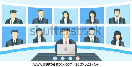 Online Virtual Remote Meetings, TV Video Web Conference Teleconference. Company CEO President Executive Manager Boss and Employee Team Work From Home WFH During Lockdown Self Quarantine or Isolation