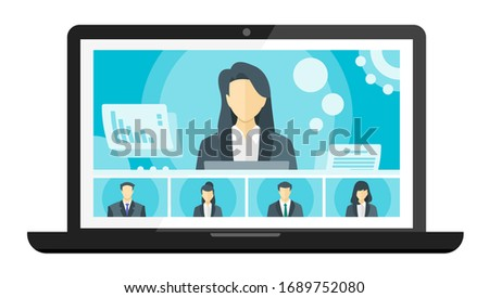Online Virtual Remote Meetings, TV Video Web Conference Teleconference. Company CEO President Executive Manager Boss & Employee Team Work From Home WFH Cloud Live Stream Study Learn Webinars Collab