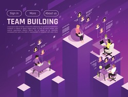 Online virtual team building isometric background with clickable buttons and platforms with human characters working remotely vector illustration