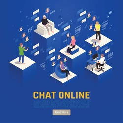 Online virtual team building isometric background with editable text read more button and people with pictograms vector illustration