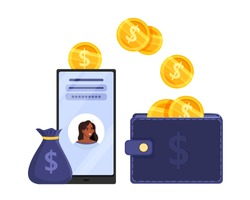 Online wallet or digital payment vector concept with smartphone, finance app, dollar coins, money bag. Mobile transaction or money transfer illustration with woman avatar. Digital payment flat design