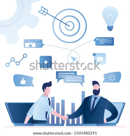 Online web communication, email marketing. Businessman handshake.B2B sales person selling products and services to buyer in laptop. Business-to-business sales method.Trendy vector illustration