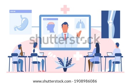 Online webinar or medical courses concept. Doctor teaching diverse multiracial academic students or interns. Flat cartoon vector illustration