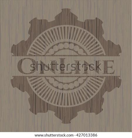 Online wooden emblem. Retro