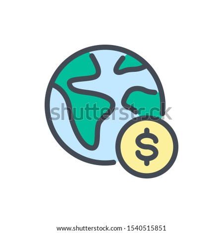 Online worldwide payment color line icon. Planet earth with dollar coin vector outline colorful sign.
