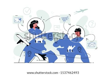 Online worldwide shopping vector illustration. People using internet application, communicating with consultant, choosing and buying goods with delivery all over world flat style concept