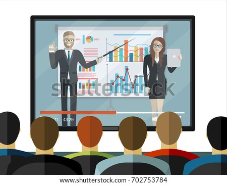 OnlineTraining staff, business presentation, meeting, financial report, business school. Flat illustration. Modern flat design for websites, web banner, infographics, printed materials. Vector.