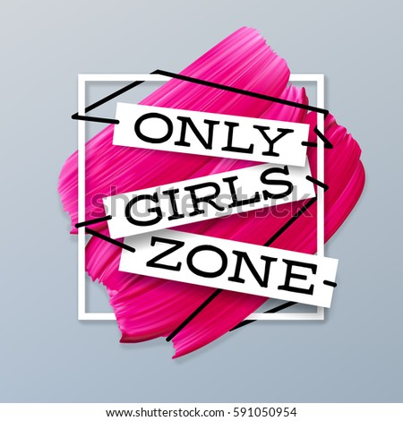 Only Girls zone lipstick pink background vector banner in frame